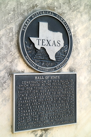 Fair Park Hall of State Historic Marker